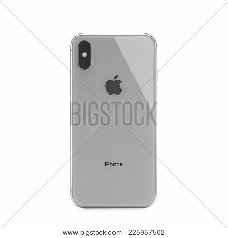 Moscow, Russia - January 06,2018: Iphone X On White Background. The Iphone X Is Smart Phone With Mul