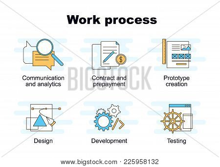 Vector Set Of Web Work Process Flat Icons. Elements Of Successful Project Management. Web And Mobile