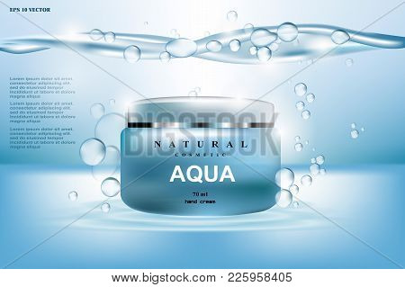 Aqua Cream Moisturizing Cosmetic Ads Template. Hydrating Facial Lotion. Mockup 3d Realistic Illustra