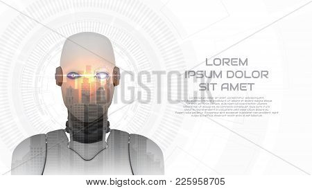 Modern Concept Web Banner With Cybernetic Robot. Vector Illustration With City Landscape. Techno Bac