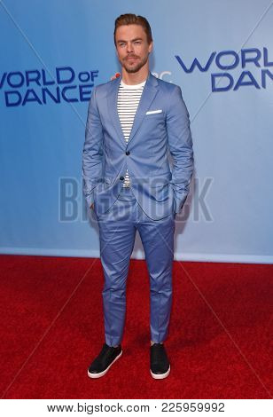 LOS ANGELES - JAN 30:  Derek Hough arrives for the 'World of Dance' Press Junket on January 30, 2018 in Hollywood, CA