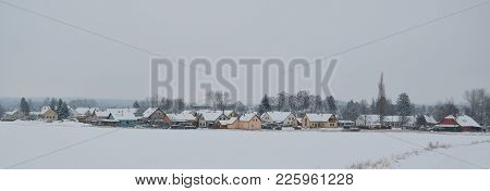 View Of Snowy Village Pribraz In Southern Bohemia, Czech Republic