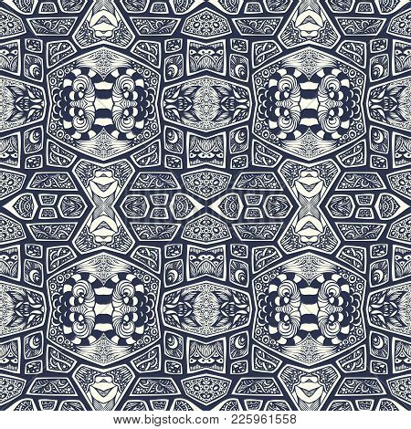 Abstract Handmade Ethno Zentangle Zendoodle  Seamless Pattern  Black On White For Coloring Page Or A