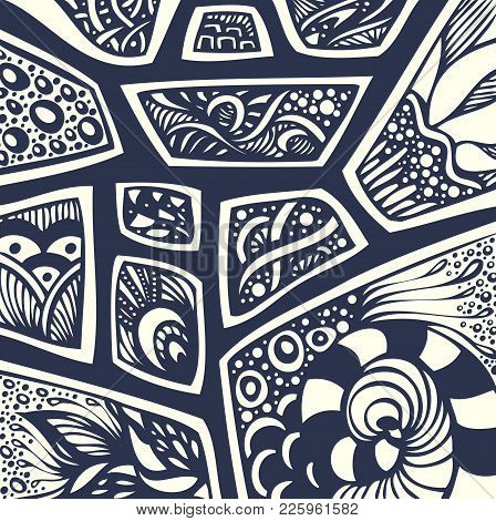 Abstract Handmade Ethno Zentangle Zendoodle  Background  Black On White For Coloring Page Or Adult R