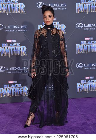 LOS ANGELES - JAN 29:  Tessa Thompson arrives for the 'Black Panther' World Premiere on January 29, 2018 in Hollywood, CA