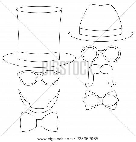 Icon Poster Man Father Day Avatar Element Set Hat Glasses Mustache Beard Bow Tie. Coloring Book Page