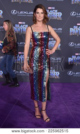 LOS ANGELES - JAN 29:  Cobie Smulders arrives for the 'Black Panther' World Premiere on January 29, 2018 in Hollywood, CA