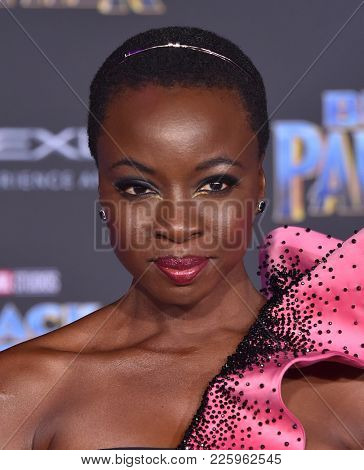 LOS ANGELES - JAN 29:  Danai Gurira arrives for the 'Black Panther' World Premiere on January 29, 2018 in Hollywood, CA