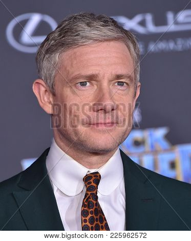 LOS ANGELES - JAN 29:  Martin Freeman arrives for the 'Black Panther' World Premiere on January 29, 2018 in Hollywood, CA