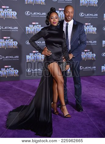 LOS ANGELES - JAN 29:  Simone Missick and Dorian Missick arrives for the 'Black Panther' World Premiere on January 29, 2018 in Hollywood, CA