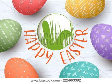 Festive Easter Eggs On White Wooden Background. Easter Colorful Eggs With Simple Ornaments. Happy Ea