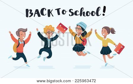 Vector Group Of Happy Ids Back To School. Students Jumping Happily. Kids Characters On Isolated Whit