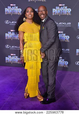 LOS ANGELES - JAN 29:  Angela Bassett and Courtney B. Vance arrives for the 'Black Panther' World Premiere on January 29, 2018 in Hollywood, CA