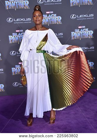 LOS ANGELES - JAN 29:  Issa Rae arrives for the 'Black Panther' World Premiere on January 29, 2018 in Hollywood, CA