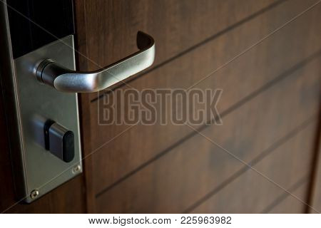 Key Card Door Lock System In A Hotel Close Up.