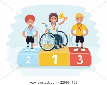 Vector Cartoon Illustration Of Sports For Kids With Disabled Activity. Gold, Silver And Bronze Troph