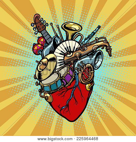 Music In The Heart, Musical Orchestral Instruments. Comic Cartoon Pop Art Illustration Retro Vintage