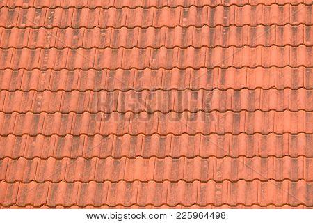 Old Orange Cray Tiles Roof Top Background.