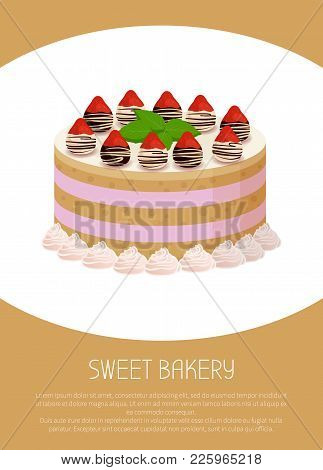 Tasty Cake With Sweet Glaze Between Soft Biscuit Corns Decorated With Ripe Strawberries And Sweet Ra