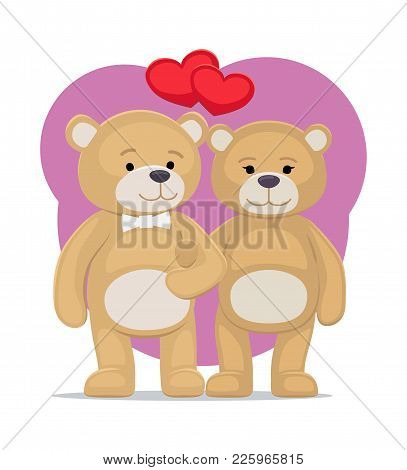Cute Bear Animals Family, Male And Female Hold Paws And Wish Happy Valentines Day, Heart Shaped Ball