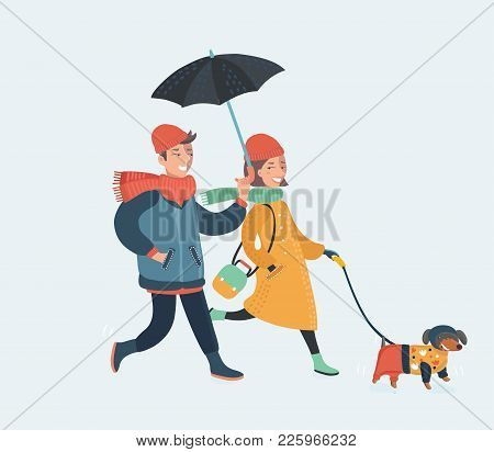 Vector Cartoon Illustration Of Couple Outdor Walk Under Umbrella In Rain With Dog. Vector Drawing Wi