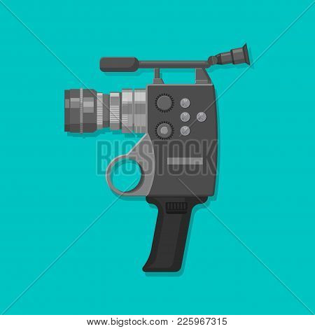 Video Camera In Vintage Style. Design Element In Flat Style. Isolated. Vector Illustration.