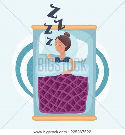 Vector Cartoon Funny Illustation Of Woman Lying And Sleeping In Bed Under Blanket, And Snoring And S