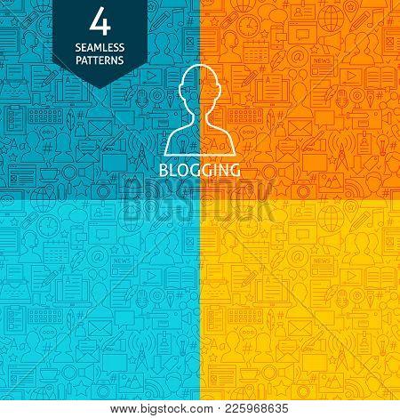 Line Blogging Patterns. Four Vector Blog Post Website Design Backgrounds.