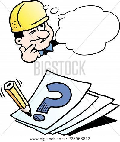 Cartoon Vector Illustration Of A Engineer Thinking Of A Solution