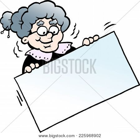 Cartoon Vector Illustration Of A Happy Grandmother Holding A Sign