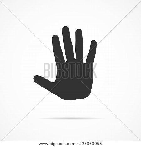 Vector Image Of Icon Hand On A Gray Background.