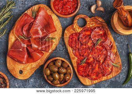 Spanish Tapas With  Chorizo,  Jamon, Picnic Table, Top View.