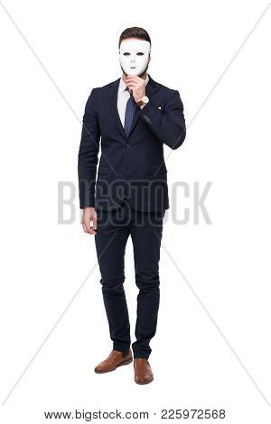 Businessman In Formal Wear Holding Mask, Isolated On White