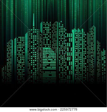Vector Of Futuristic Cityscape Combined With Binary Code