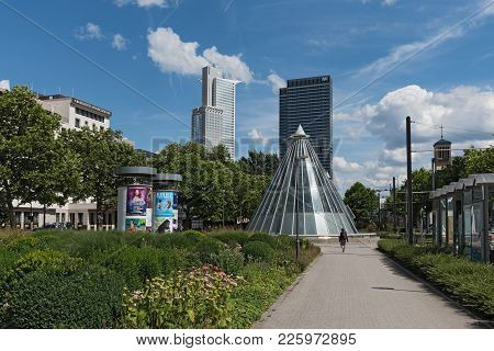 Frankfurt, Germany-july 17, 2017: Skyscrapers And Subway Station At The Friedrich Ebert Park Facilit