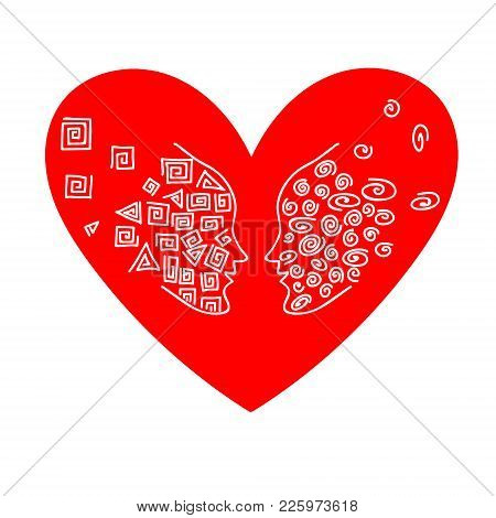 Duo Of Opposites In The Heart. Vector Flat Loving Couple Illustration. Good For Valentine Day Card D