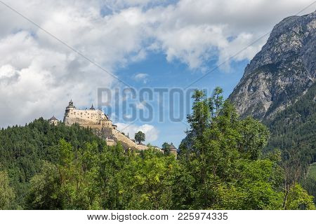 Castle Hohenwerfen In Pongau Valley Austria. Former Film Location Where Eagles Dare. The Castle Is S