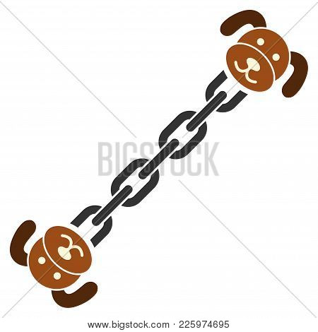 Puppy Blockchain Flat Vector Pictograph. An Isolated Illustration On A White Background.