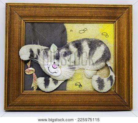 Applique Of Black White Cat Playing With Fish