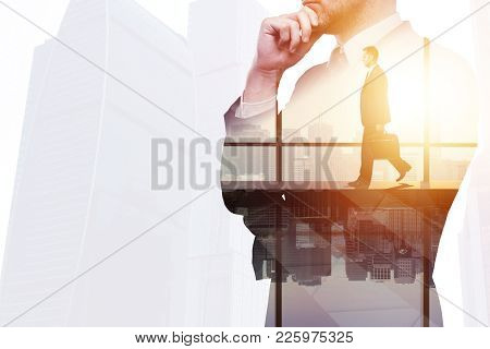 Businessman On Abstract Office City Workplace Background. Success And Search Concept. Double Exposur