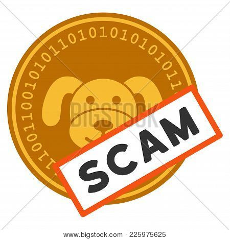 Puppycoin Scam Label Flat Vector Pictograph. An Isolated Illustration On A White Background.