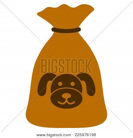 Puppy Sack Flat Vector Pictograph. An Isolated Illustration On A White Background.