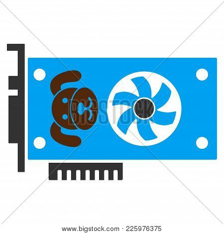 Puppycoin Gpu Card Flat Vector Illustration. An Isolated Illustration On A White Background.