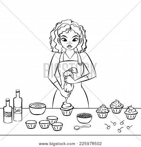 Young African Woman Decorating A Cupcake. Black Line Art. Hand Drawn Vector Graphics Illustration.