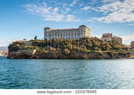 Marseille, France - December 4, 2016: View From The Sea To The Pharo Palace Located At A High Point