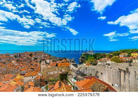 Scenic View At Colorful Scenery In Southern Europe, Dubrovnik Old Town Cityscape.