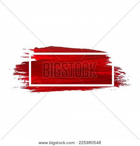 Acrylic Brush Texture Background. Red Acrylic Paint Banner With Frame For Decoration. Vector