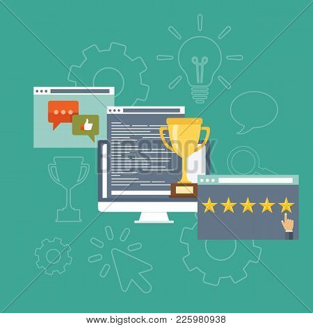 Website Ratings Concept. Search Engine Optimization Concept In Flat Style. Top Ranking Website On Th