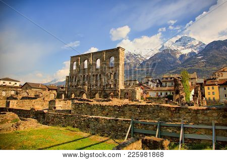 Landscape View Of Beautiful Mountains Landscape In Valley Aosta. Teatro Romano, Aosta, Italy