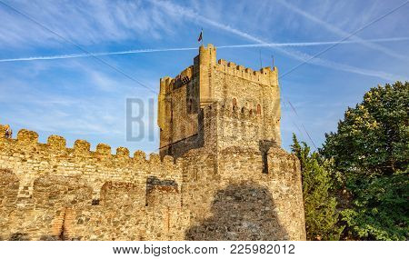 Antique Fort Castillo De Braganza In Portugal. Blue Sky